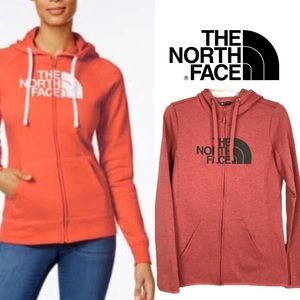 The North Face Oranged Red Full Zip Hoodie size S